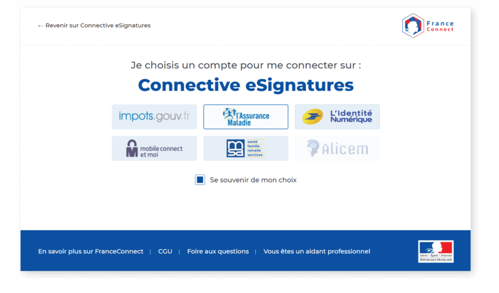 FranceConnect - Choose account screen