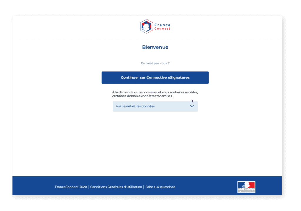 FranceConnect - welcome screen